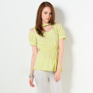 YesStyle Z - Short-Sleeved Cutout Neckline Blouse