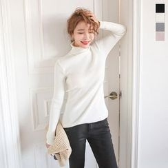PPGIRL - Turtle-Neck Ribbed Top