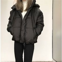 Eva Fashion - Zip Loose-fit Padded Coat