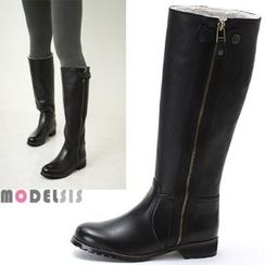 MODELSIS - Genuine Leather Fleece-Lined Long Boots