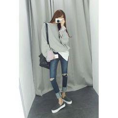 ATTYSTORY - Stripe-Trim Cotton Pullover