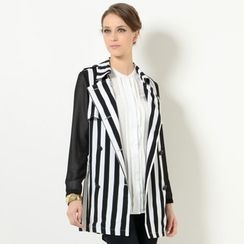 YesStyle Z - Sheer Sleeve Striped Trench Coat