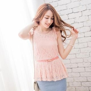 Tokyo Fashion - Bow-Shoulder Pleated Lace Sleeveless Top