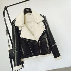 Apalili - Faux Suede Fleece-lined Biker Jacket