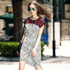 Queen Mulock - Cap-Sleeve Leopard-Print Silk Dress