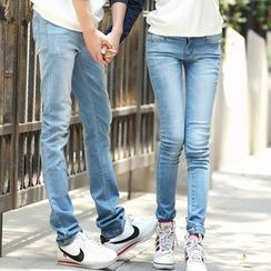 NoonSun - Couple Matching Washed Jeans