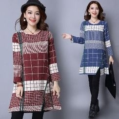 Splashmix - Plaid A-Line Dress