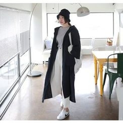 Miamasvin - Hooded Open-Front Long Jacket