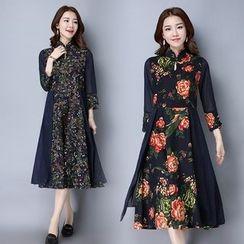 Ebbie - 碎花中式领七分袖连衣裙