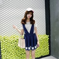 We Belong - Couple Matching Set: Stripe Short-Sleeve T-Shirt + Lettering Shorts / Suspender Skirt