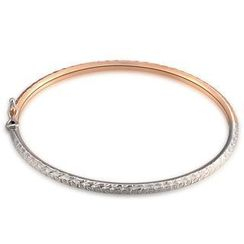 MaBelle - 14K Italian Rose and White Gold Diamond-Cut Bangle (55mm), Women Girl Jewelry in Gift Box
