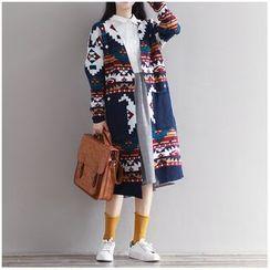 Pecora - Patterned Pocketed Long Cardigan