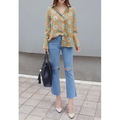 BBORAM - Slit-Trim Boot-Cut Jeans