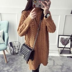 Qimi - High Neck Cable Knit Dress