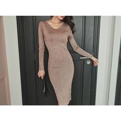 UUZONE - Glitter Rib-Knit Dress