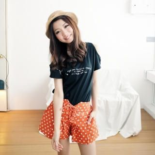 BAIMOMO - Lace-Up Front Dotted Shorts