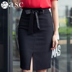 Aision - Bow-Accent Slit-Front Pencil-Cut Skirt