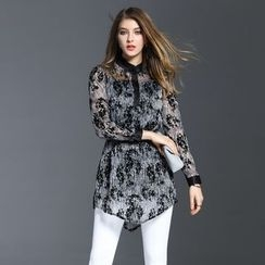 Elabo - Floral Print Long Blouse