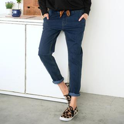 59 Seconds - Drawstring Denim Harem Pants