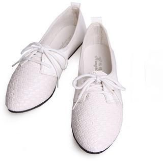 77Queen - Woven-Panel Lace-Up Oxfords