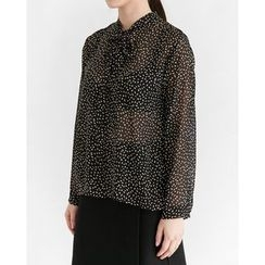 Someday, if - Tie-Front Patterned Chiffon Top