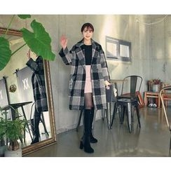 HOTPING - Checked Loose-Fit Coat