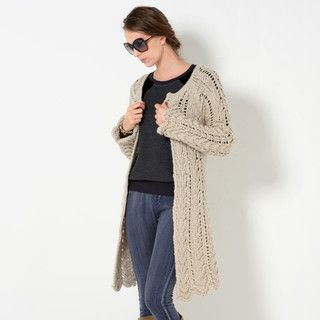 YesStyle Z - Wool-Blend Textured Open-Front Long Cardigan