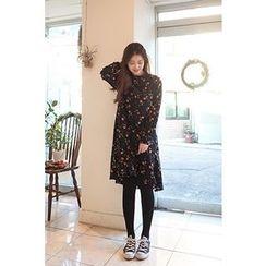 CHERRYKOKO - Mock-Neck Floral Pattern Dress