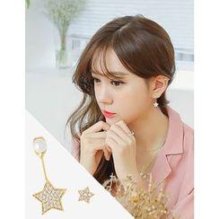 soo n soo - Rhinestone Faux-Pearl Star Asymmetric Earrings