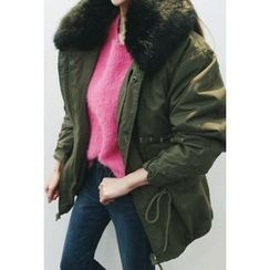 ATTYSTORY - Faux-Fur Lined Drawstring-Waist Jacket