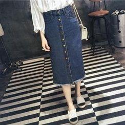 MayFair - Button Denim Midi Skirt
