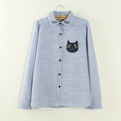 Tangi - Cat Embroidered Shirt