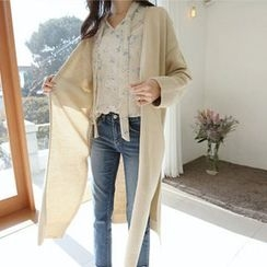Hello sweety - Open-Front Slit-Hem Cardigan