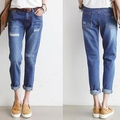 NANING9 - Distressed Washed Blue Jeans