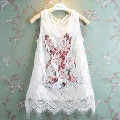 Kidora - Kids Sleeveless Lace Overlay Sequined Rabbit Dress