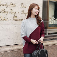 CLICK - High-Neck Color-Block Sweater