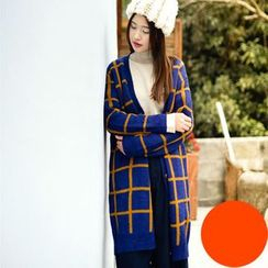 Yammi - Check Long Cardigan