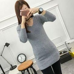Mioni - Ribbed Long Knit Top