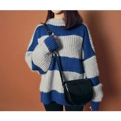 HOTPING - Color-Block Wool Blend Knit Top