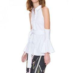 Obel - Cut Out Shoulder Tie Waist Shirt