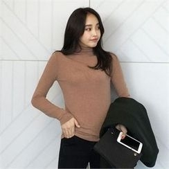 QNIGIRLS - Turtle-Neck Long-Sleeve Top