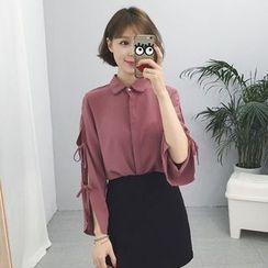 Rocho - Tie Sleeve Plain Shirt