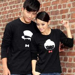 Porspor - Long-Sleeve Printed Couple T-Shirt