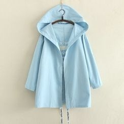 Aigan - Hooded Embroidered Open-Front Coat