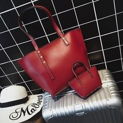 Beloved Bags - Set: Faux Leather Tote + Pouch