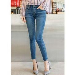 J-ANN - Fray-Hem Washed Skinny Jeans