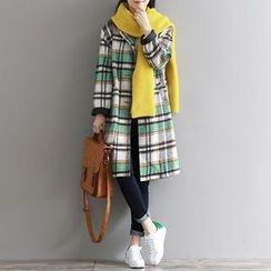 Clover Dream - Plaid Long Woolen Coat