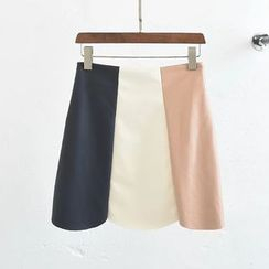 Aigan - Faux-Leather Color-Block A-Line Skirt