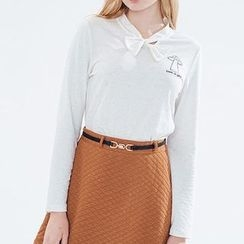 Obel - Bow Accent Embroidered Long Sleeve Top