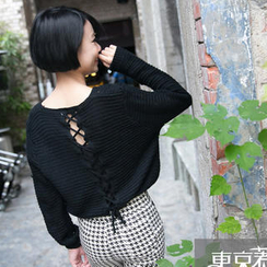 Tokyo Fashion - Lace-Up Back Cable-Knit Sweater